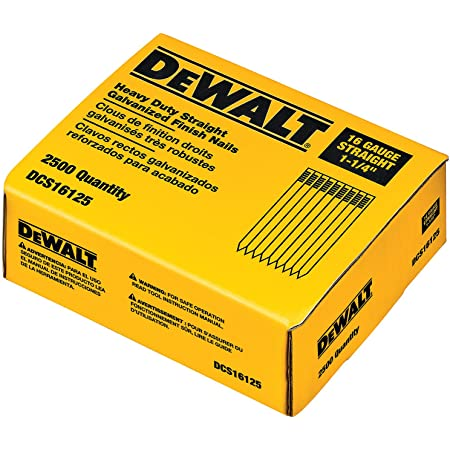 DEWALT Finish Nails, 1-1/4-Inch, 16GA, 2500-Pack (DCS16125) (packaging may vary)