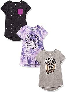 Spotted Zebra Disney Star Wars Marvel Frozen Princess-Camiseta de Manga Corta Niñas, Pack de 3