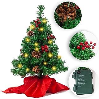 JOYIN Mini árbol de Navidad de 50cm, Mini árbol de Pino de Navidad Artificial con Luces decoración navideña para la Mesa del hogar
