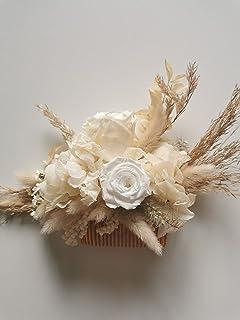FIORI DI TESTA Pettinino con fiori secchi e stabilizzati. Per matrimonio o celebrazione. Misura adatta ad un adulto. Petti...