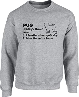 Hippowarehouse Personalised Pug Definition Unisex Jumper Sweatshirt Pullover (Specific Size Guide in Description)