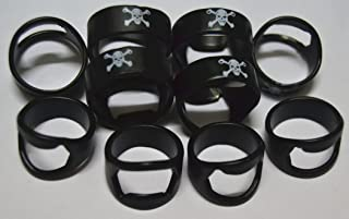 10pcs Set Black Skull Head Stainless Steel Beer Ring Bottle Opener With Mixing Sizes