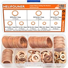 HELIFOUNER Copper Washers, 150PCS 8 Sizes Copper Metric Sealing Washers Flat Washers Assortment Kit