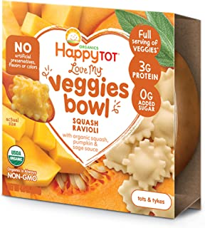 Happy Tot, Love My Veggies Ravioli Meal, 4.5 Ounce Bowl, Squash Ravioli with Sage Sauce, Full Serving of Veggies, 0g Added Sugar, USDA Certified Organic Toddler Food, Ready to Eat, 8 Count