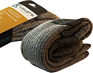 Kakuetta Trail Wool Socks Men and Women Hiking Gear, Thick Merino Wool USA Made (Grey, Large)