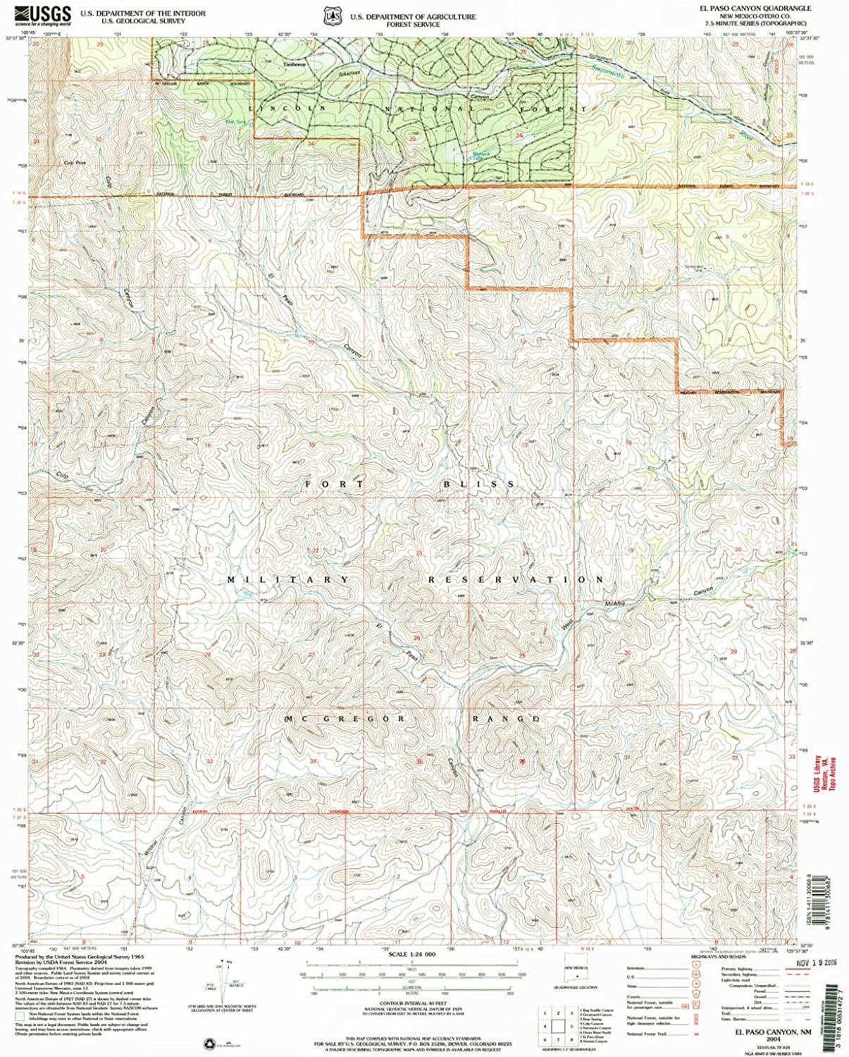 El Paso Canyon NM topo map, 1 24000 Scale, 7.5 X 7.5 Minute, Historical, 2004, Updated 2006, 27.1 x 22.1 in