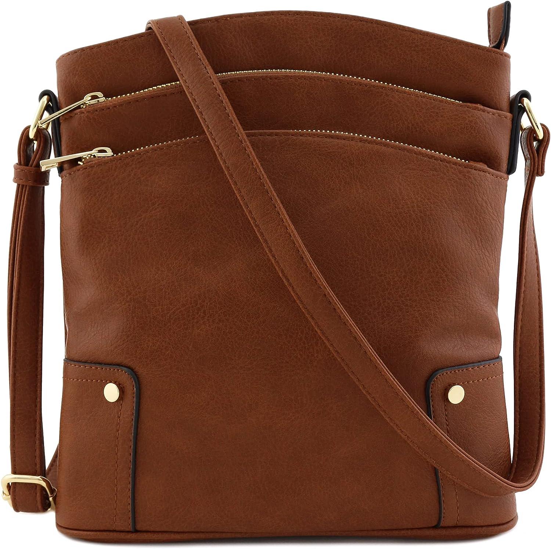 Triple Zip Pocket Large Crossbody Bag