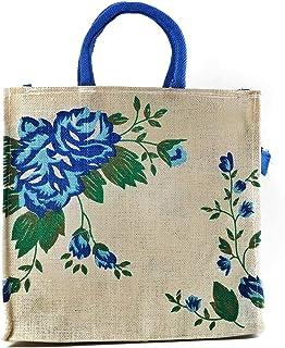 Shree jeen Marketing Handmade Hand Bags Eco Reusable Flower Print Jute Bags for Carry Milk Grocery Fruits Vegetable Shoppi...