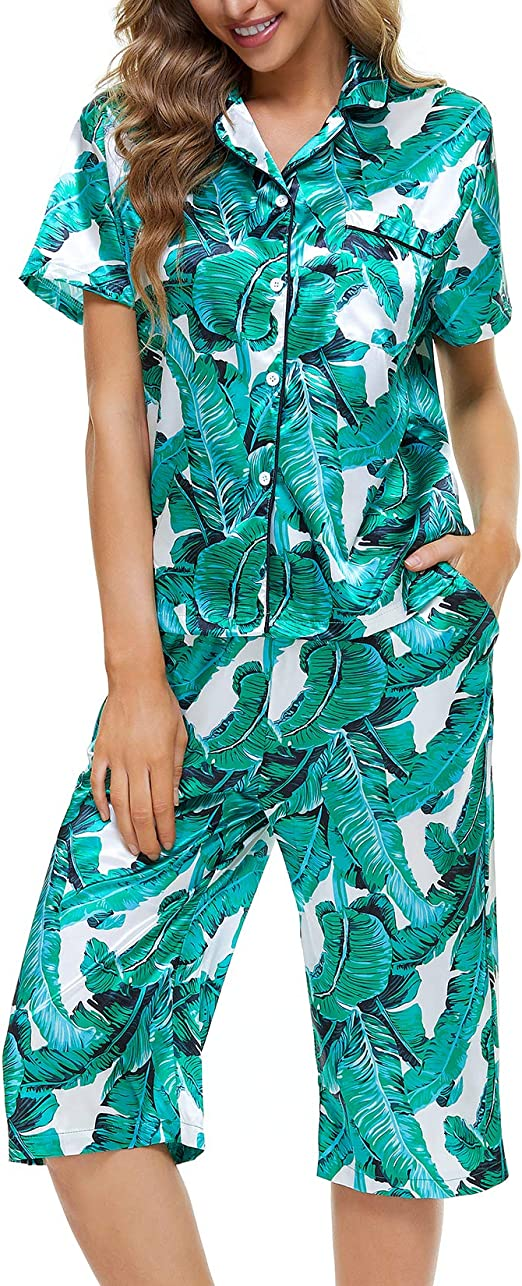Lu's Chic Women's Notch Collar Pajama Set Pj Nightwear Botton Up Sleepwear Short Sleeve 2 Piece