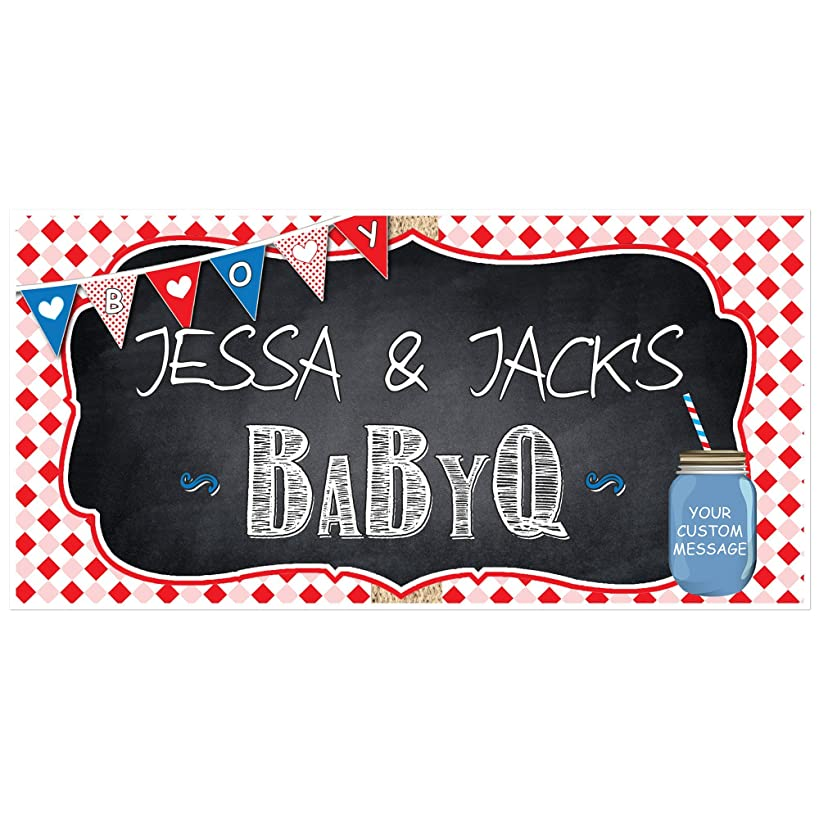 BabyQ Baby Shower Boy Banner Personalized Party Barbeque Backdrop