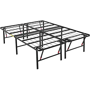 """AmazonBasics Foldable, 18"""" Metal Platform Bed Frame with Tool-Free Assembly, No Box Spring Needed - Queen"""