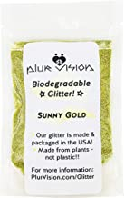 Sunny Gold Biodegradable Glitter 1/4 Ounce - Made from Plant Cellulose, Earth Friendly. Perfect for Body, Cosmetics, Crafts, DIY Projects. Can be Mixed with Lotions, Gels, Oils, Face Paint
