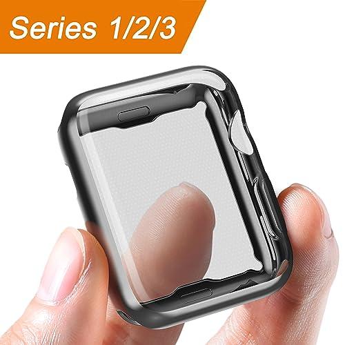 Corki Coque Apple Watch 42mm Protecteur d'écran TPU Ultra Mince - Étui de Protection Anti-Chocs - Couverture Intégrale Fine - pour iWatch Apple Watch Série 3 Série 2 Série 1 Édition Nike+ (Noir)