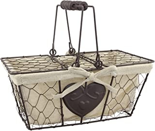 "Stonebriar Farmhouse Metal Chicken Wire Picnic Basket with Hinged Lids, Handles, and Heart Detail, 10.5"" x 6.5"", Cream"