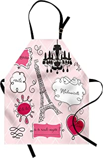 Ambesonne Teen Room Apron, Doodle Frames in French Style Rococo Baroque Lantern Mademoiselle Print, Unisex Kitchen Bib with Adjustable Neck for Cooking Gardening, Adult Size, Pink Black