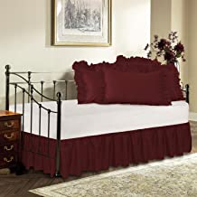 Harmony Lane Day Bed Ruffled Bed Skirt, Burgundy, 18'' Drop Bedskirt (Available in 16 Colors)