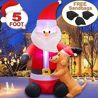 [Sandbag Inside]5 FT Christmas Inflatables Lighted Funny Santa Snowman Dog Decor Holiday Indoor Outdoor Christmas Inflatable Decoration Airblown Claus Puppy Hug Led Blow Up Xmas Décor Yard Patio Party