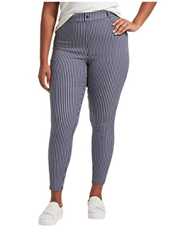 HUE Plus Size Striped Ultra Soft Denim High-Waist Leggings (Indigo Stripe) Women