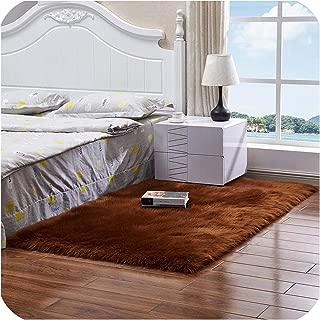 Drem-Wardrobe Soft Fur Area Rugs for Bedroom Floor Shaggy Silky Plush Carpet White Faux Fur Rug Bedside Rugs,Brown,60X60Cm