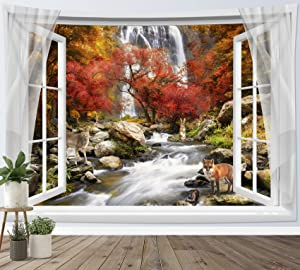 HVEST Fall Forest Tapestry Wall Hanging Animal Fox Deer in Autumn Maple Tree Forest Tapestries Waterfall Natural Scenery Tapestry for Bedroom Living Room Party Dorm Decor,60x40 Inches