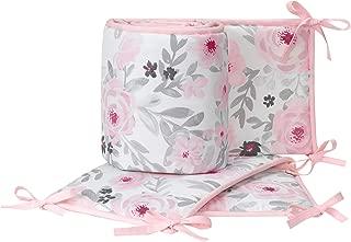 Bedtime Originals Blossom Pink/Gray Watercolor Floral 4-Piece Crib Bumper