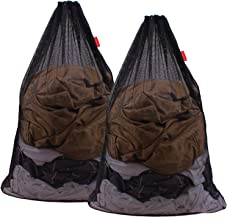 DuomiW Mesh Laundry Bag Heavy Duty Drawstring Bag, Factories, College, Dorm, Travel and Apartment Dwellers, 24 x 36 Inches, 2 Pack, Black