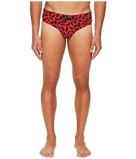 Dolce & Gabbana Abstract Swim Brief w/ Bag