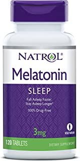 Natrol Melatonin Tablets, Helps You Fall Asleep Faster, Stay Asleep Longer, Faster Absorption, 100% Vegetarian, 3mg, 120 C...