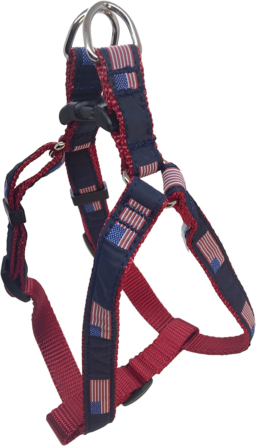 Preston American Flag Dog Step in Harness  American Flag on Navy bluee Ribbon with Red Nylon Webbing (Large)