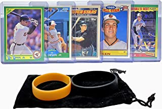Cal Ripken Jr. Baseball Cards (5) ASSORTED Baltimore Orioles Trading Card and Wristbands Gift Bundle