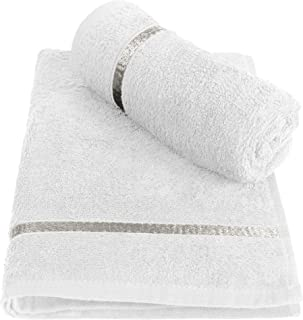 Cotton Hand Towel 450 GSM (Pack of 2, White)  Bathroom Towel Absorbent Small Towels for Hand,Face,Kitchen and Bath