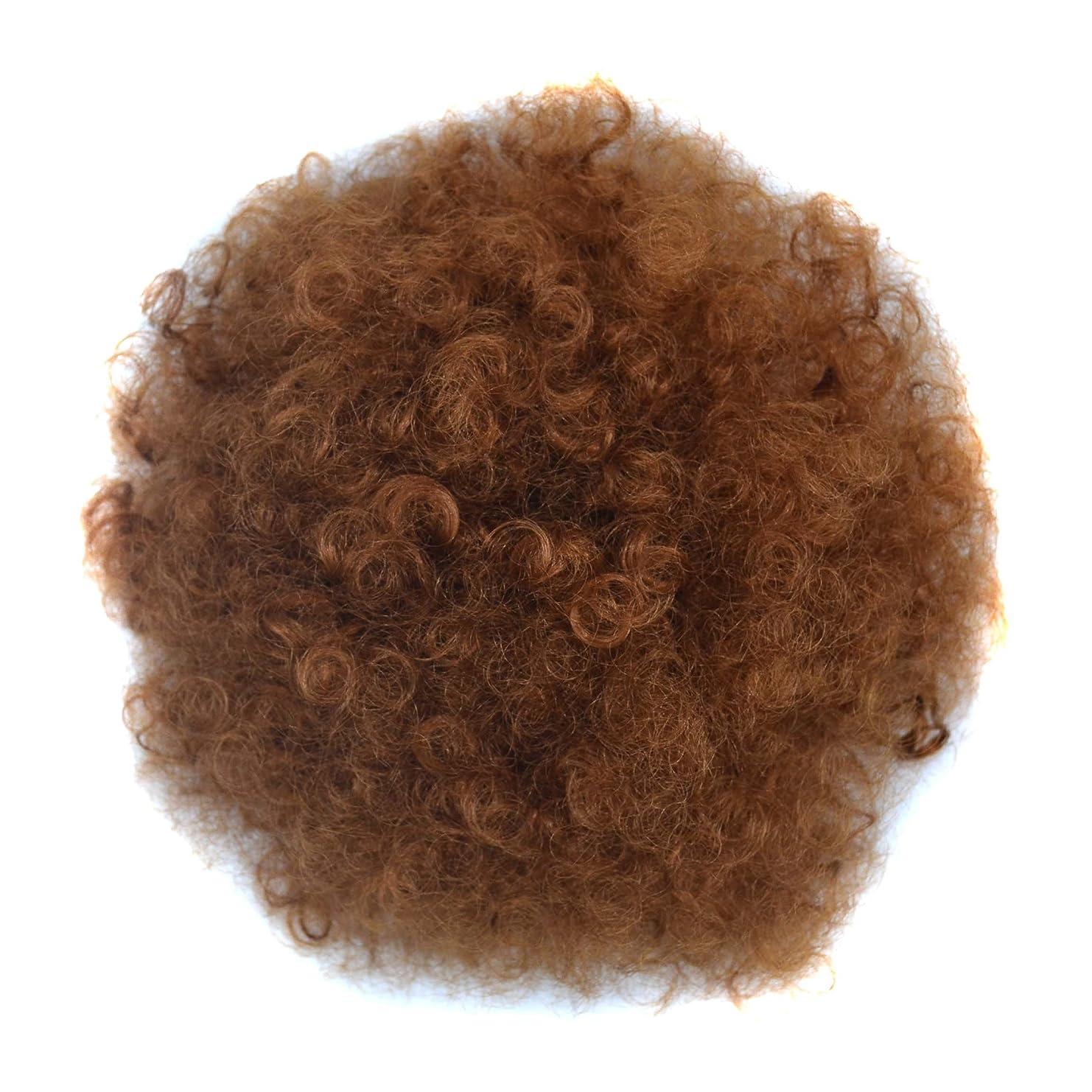 終点うま不変JIANFU 爆発ヘッドふわふわ毛髪の拡張子カールヘアの毛の拡張子キャタピラーのかつらのサイズ選択ウィッグの部分 (Color : Light Brown(S))
