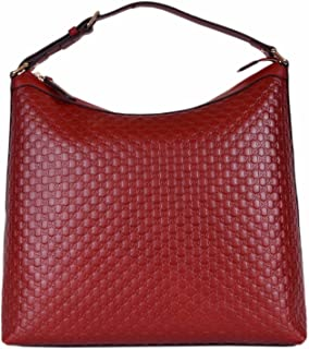 Women's Micro GG Guccissima Leather Purse Hobo Handbag (449732/Red)