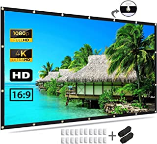 Projector Screen 120 inch, 4K Movie Projection Screen 16:9 HD Foldable & Portable Outdoor Projection Indoor for Home, Part...