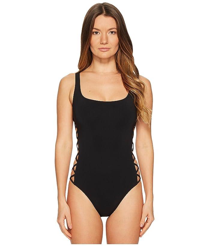 Tory Burch Swimwear Lace-Up Tank Suit (Black) Women