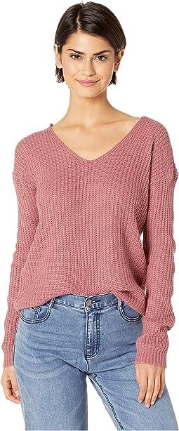 Drop Shoulder Long Sleeve w/ V-Neck Front & Lace Back