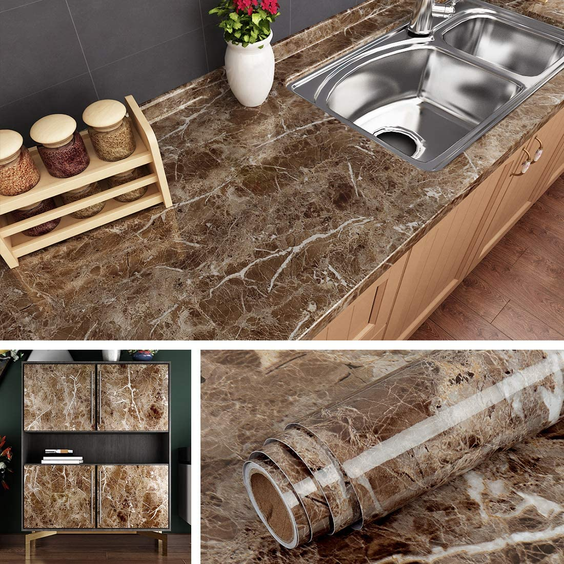 Livelynine Counter top Covers Peel and Stick Wallpaper Self Adhesive Marble  Wall Paper Roll Kitchen Countertop Marble Adhesive Paper Table Desk Cover  ...