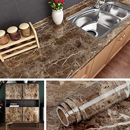 Livelynine Counter Top Covers Peel And Stick Wallpaper Self Adhesive Marble Wall Paper Roll Kitchen Countertop Marble Adhesive Paper Table Desk Cover Bathroom Vanity Decor Waterproof 15 8 X78 8 Inch Amazon Com