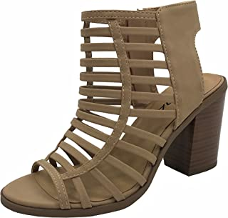 Womens Open Toe Strappy Caged Sandal Ankle Strap Chunky Mid Heel