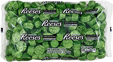 REESE'S Holiday Chocolate Candy, Peanut Butter Cup Miniatures, Lime Green Foils, 4.1 Pounds Bulk Candy Gift