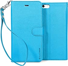 BUDDIBOX iPhone 6s Case, [Wrist Strap] Premium PU Leather Wallet Case with [Kickstand] Card Holder and ID Slot for Apple iPhone 6S / 6, (Sky Blue)