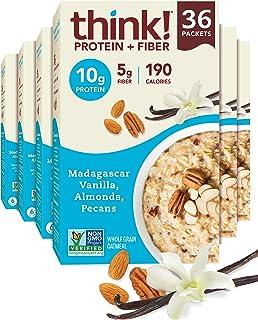 think! (thinkThin) Instant Oatmeal Packets - Protein & Fiber - Vegan, Steel Cut Oats, 5g Fiber, Non GMO, 10g Protein, Mada...