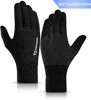 360° Whole Palm Touch Screen Gloves for Men Women, Anti-Slip Silicone Gel, Elastic Cuff, Thermal Soft Lining