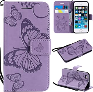 iPhone 5s Wallet Case,iPhone se Case,SMYTU Premium Emboss Butterfly Pattern Flip Wallet Shell PU Leather Magnetic Cover Skin with Wrist Strap Case for iPhone 5s iPhone se iPhone 5(B-Purple)