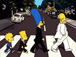 Classic Anime The Simpsons Rock Band Style Crossing The Road Poster Standard Size 18×24 inches