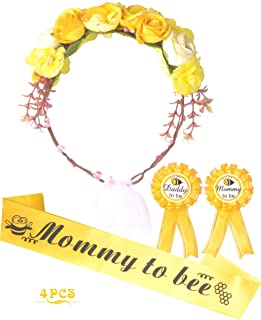 Mommy to Bee Baby Shower Decoration, Mother To Be Flower Crown Set, Mommy to be Sash and Mommy to be Pin, Dad To Be Pin, B...