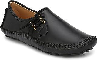 Andrew Scott Men's Black Leather Loafers- 8 UK/India (42 EU) (1000Black_8)
