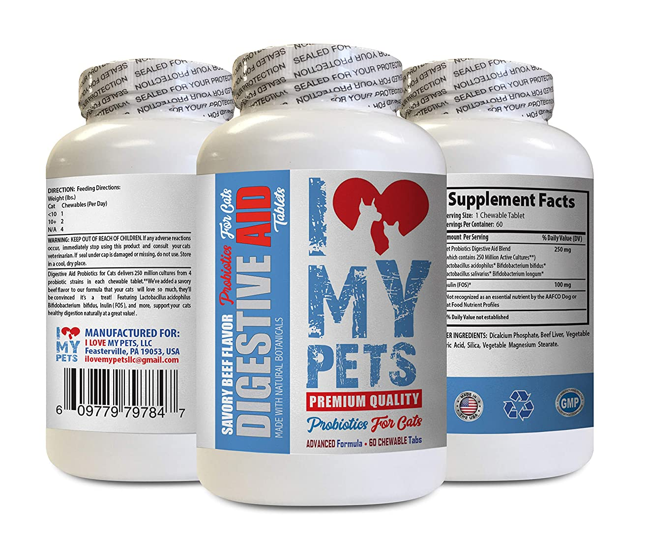 I LOVE MY PETS LLC cat probiotic for Constipation - CAT Digestive AID - Healthy PROBIOTICS - Chews - Digestive enzymes Cats - 60 Treats (1 Bottle)