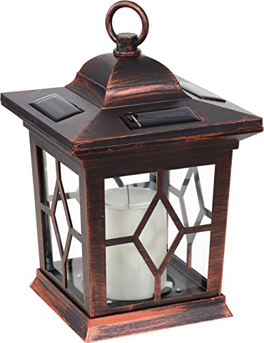 popular Sunnydaze Lucien Outdoor Solar LED Decorative Candle discount Lantern - Rustic Farmhouse Decor for Patio, Porch, Deck and Garden - Tabletop and high quality Hanging Outside Light - Copper - 9-Inch outlet sale