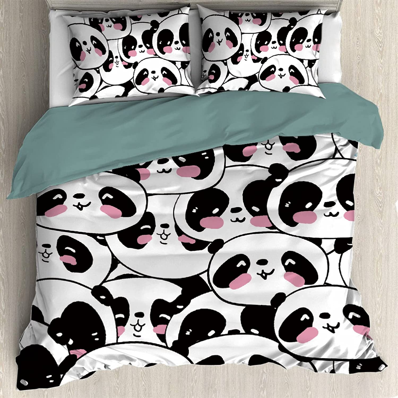 Cute Panda Comforter Cover Max 48% OFF 3 Set Soft Microfiber for Teen Ultra Max 44% OFF